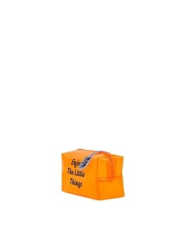 Bagmori  Kadın Baskılı Mini Makyaj Çantası M000006240 Oranj